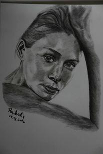 Kohlezeichnung, Zeichnung, Kopf, Frau