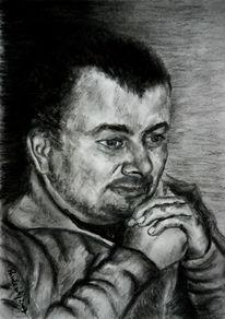 Menschen, Gesicht, Zeichnung, Kohlezeichnung