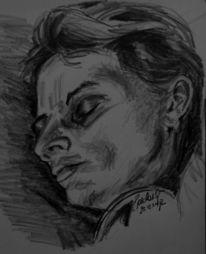 Schlaf, Skizze, Gesicht, Zeichnung