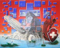 Matterhorn, Franken, Bank, Malerei