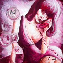 Hieroglyphen, Telefonieren, Malerei, Acrylmalerei