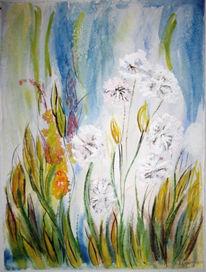 Abstrakt, Pusteblumen, Blumen, Aquarellmalerei