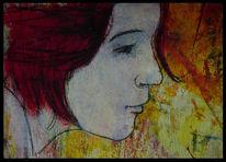 Frau, Mischtechnik, Malerei, Menschen