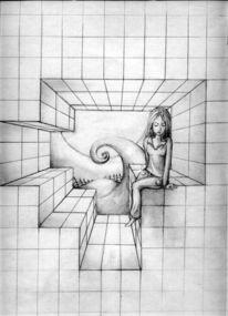 Wand, Mädchen, Zeichnung, Mond