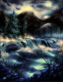 Wolken, Grafik, Berge, Fluss