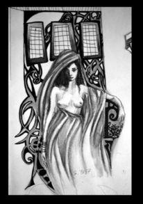 Schwarz, Frau, Fenster, Zeichnung