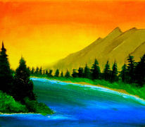 Sonnenuntergang, Landschaft, Berge, Malerei