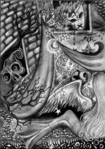 Flügel, Stern, Frau, Teufel
