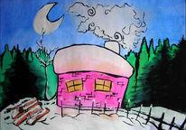 Malerei, Landschaft, Schnee, Haus