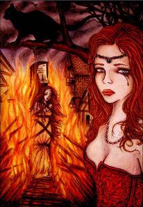 Figural, Rauch, Frau, Feuer