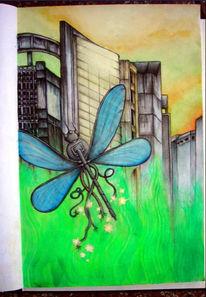 Kabel, Pflanzen, Libelle, Stadt