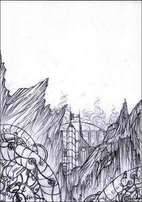 Kabel, Futuristisch, Felsen, Stadt