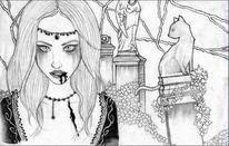 Blut, Zeichnung, Vampir, Katze