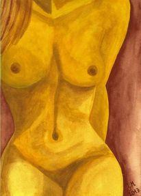 Akt, Modern, Aquarellmalerei, Frau