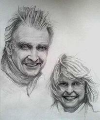 Zeichnung, Auftrag, Gesicht, Paar