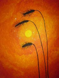 Einsamkeit, Acrylmalerei, Pflanzen, Getreide