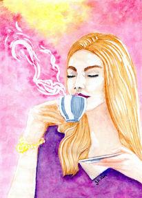 Genuss, Kaffezeit, Kaffee, Aquarellmalerei