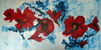 Modern art, Rot, Blumen, Weihnachten