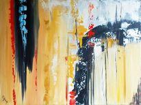 Abstrakt, Gelb, Rot schwarz, Malerei