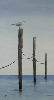 Wasser, Möwe, Landschaft, Malerei