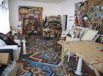Saustall, Arbeitstisch, Atelier, Farben