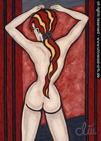 Weiblich, Gemälde, Acrylmalerei, Akt