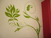 Grün, Abstrakt, Wand, Blumen