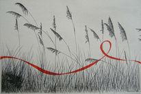 Tuschmalerei, Wiese, Gras, Rot schwarz