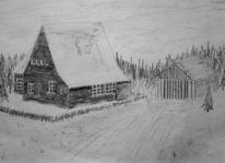 Haus, Malerei, Bleistiftzeichnung, Zeichnung