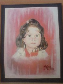 Gouachemalerei, Mädchen, Kind, Portrait