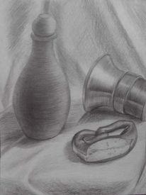 Stillleben, Glocke, Bleistiftzeichnung, Vase