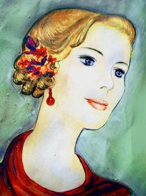 Malerei, Dame, Sinnlichkeit, Portrait
