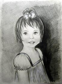 Bleistiftzeichnung, Kind, Mischtechnik, Portrait