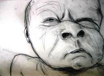Zeichnung, Kohlezeichnung, Baby, Bleistiftzeichnung