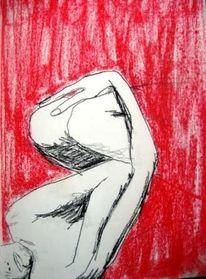 Frau, Pastellmalerei, Rot, Akt
