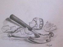 Stillleben, Zeichnung, Zeichnungen, Hammer