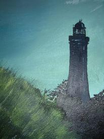 Malerei, Landschaft, Abend, Leuchtturm