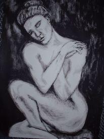 Schwarz weiß, Frau, Skulptur, Malerei