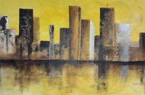 Skyline, Gelb, Spachteltechnik, Spiegelung