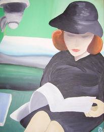Ruhe, Frau, Grün, Malerei