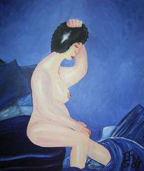 Angst, Blau, Frau, Figural