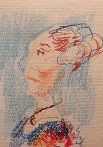 Frau, Stolz, Seitlich, Zeichnungen