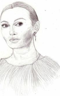 Portrait, Zeichnung, Zeichnungen, Dame