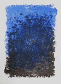 Blau, Schwarz, Abdruck, Druckgrafik