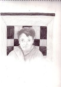 Portrait, Zeichnung, Raum, Oma