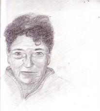 Portrait, Groß, Zeichnung, Oma