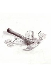 Stillleben, Zeichnung, Zeichnungen, Flasche