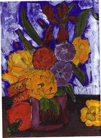 Malerei, Stillleben, Vase, Blumen