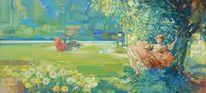 Park, Rot, Blumen, Malerei