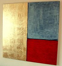 Gold, Grau, Modern, Rot